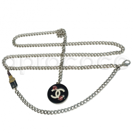 92c1b1a82f5 CHANEL silver Chain-Belt w/ Lipstick Charm Cosmetic Edition