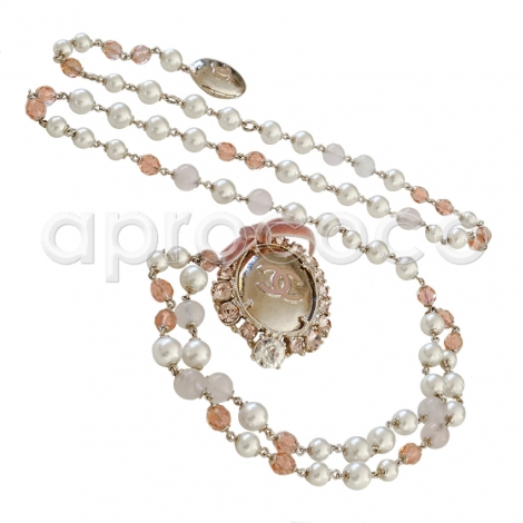 Chanel 2005 Chanel Silver Tone Chain & Bead Belt W/metal Camellia W/pearls