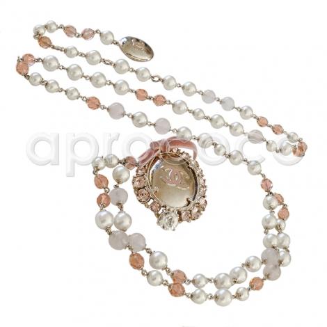 Chanel 2005 Chanel Silver Tone Chain & Bead Belt W/metal Camellia W/pearls L9B9f7f2s