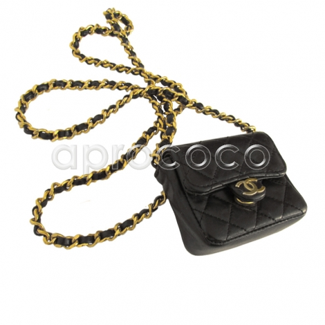 aprococo chanel black leather mini flap bag necklace w chain strap. Black Bedroom Furniture Sets. Home Design Ideas