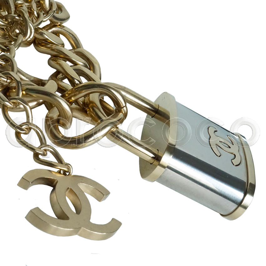 914723fd78363a aprococo - CHANEL 2014 chic gigantic XL PADLOCK Necklace