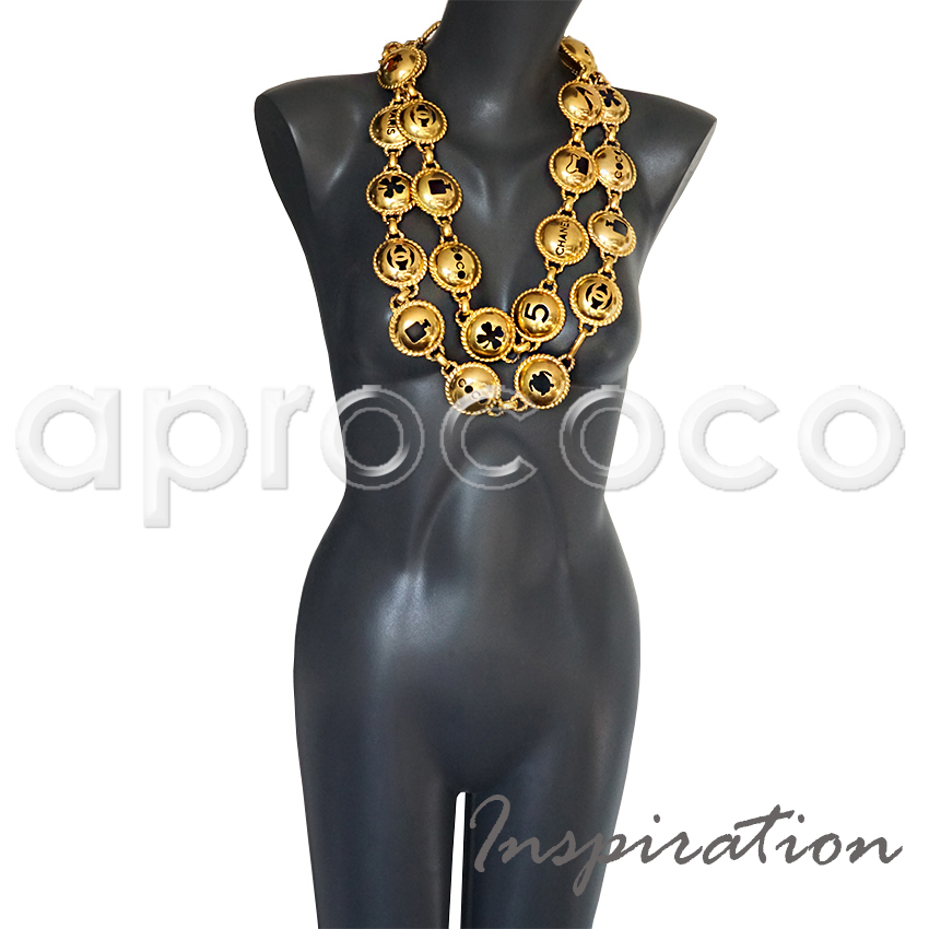 aprococo - CHANEL vintage Belt~Necklace with domed cut-out signature ...