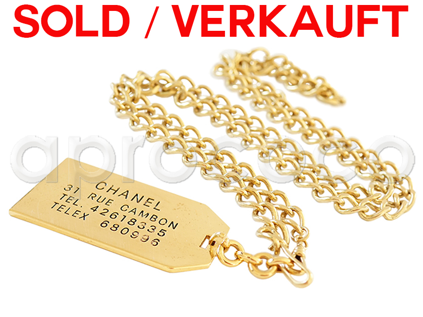 aprococo - Chanel 1982 long Chain Necklace w/ rectangular Dog Tag ...