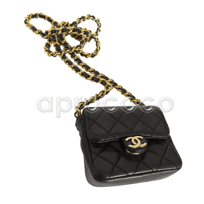 c20ae11cb5d6d6 aprococo - CHANEL BLACK leather mini 2.55 flap bag necklace w/ chain ...
