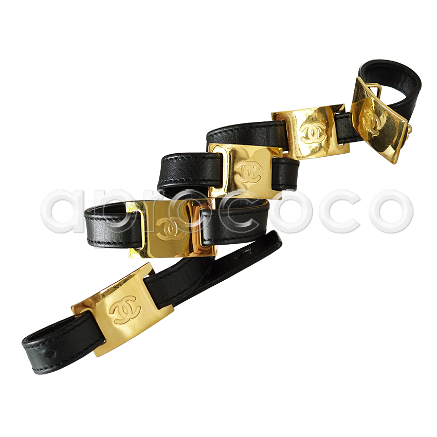 fa54f681d aprococo - CHANEL black leather Belt with 5 CC logo buckles