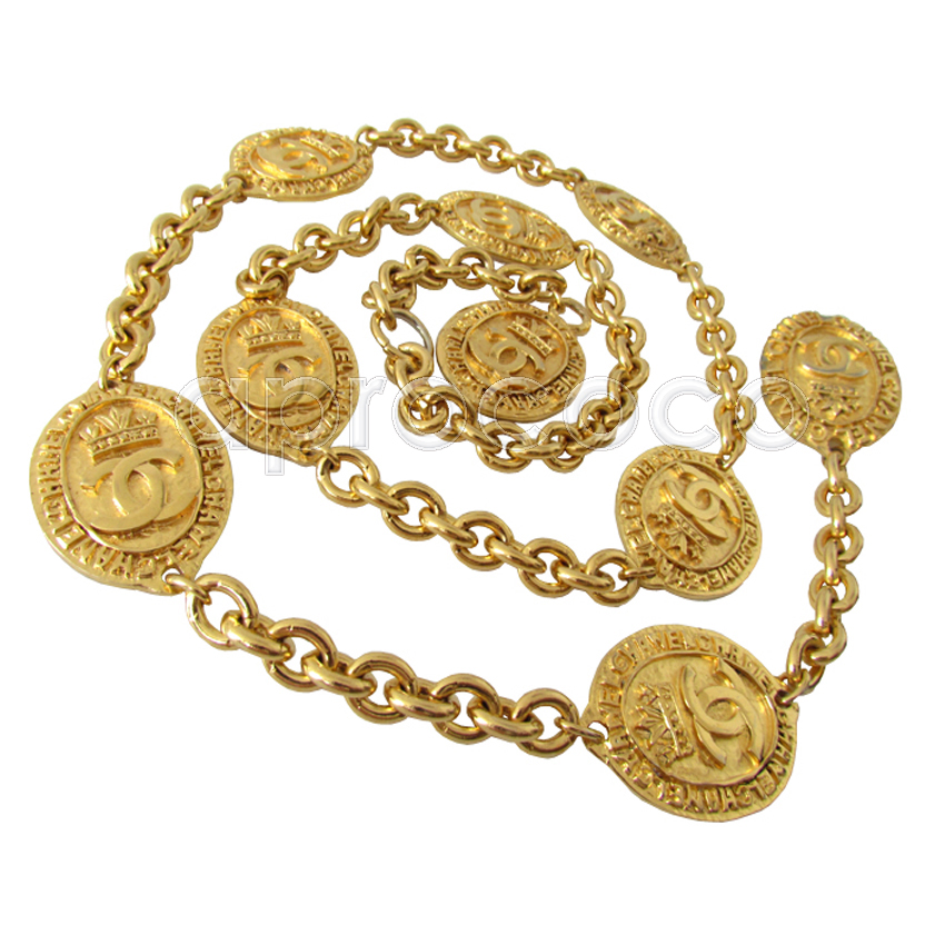 aprococo vintage chanel gold plated belt sautoir necklace bracelet w large oval coins. Black Bedroom Furniture Sets. Home Design Ideas