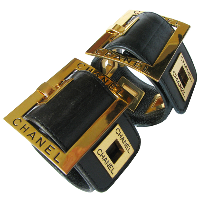 Wide Bold Beautiful 2 Vintage Chanel Leather Cuffs Bracelets